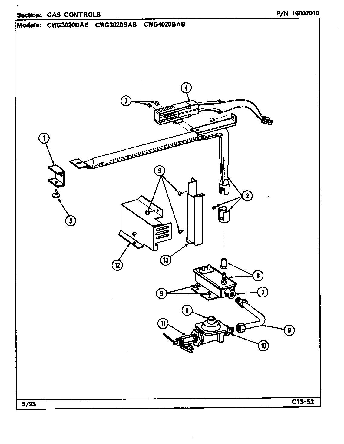 GAS CONTROLS Diagram & Parts List for Model cwg3020bab