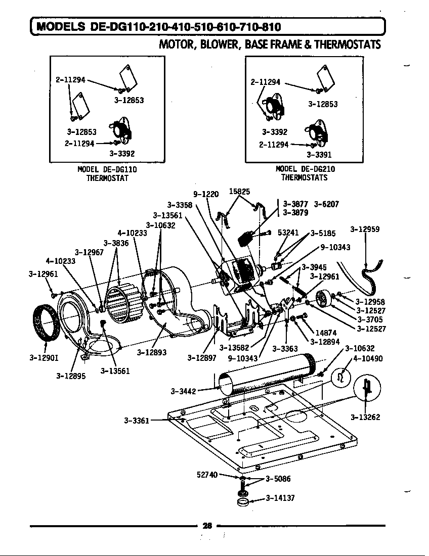 MOTOR, BLOWER, BASE FRAME & THERMOSTATS Diagram & Parts