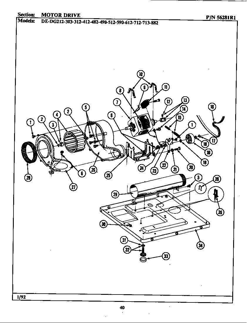 MOTOR DRIVE Diagram & Parts List for Model dg312 Maytag