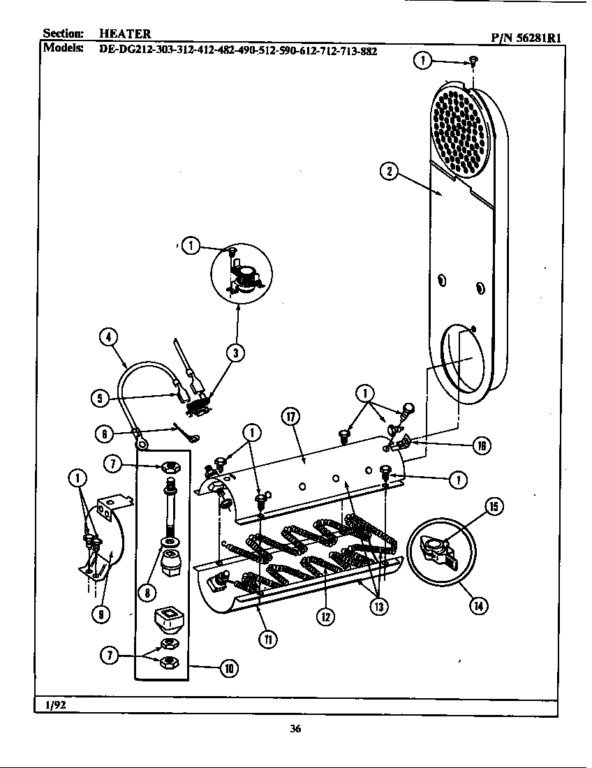 HEATER Diagram & Parts List for Model de313 Maytag-Parts
