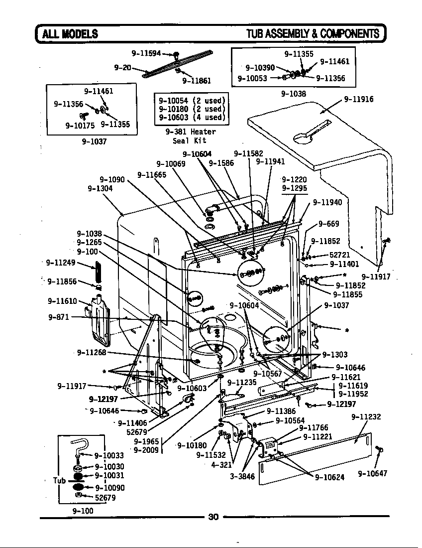 TUB ASSEMBLY & COMPONENTS Diagram & Parts List for Model