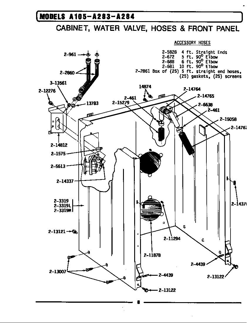 CABINET, WATER VALVE, HOSES & FRNT PANEL Diagram & Parts