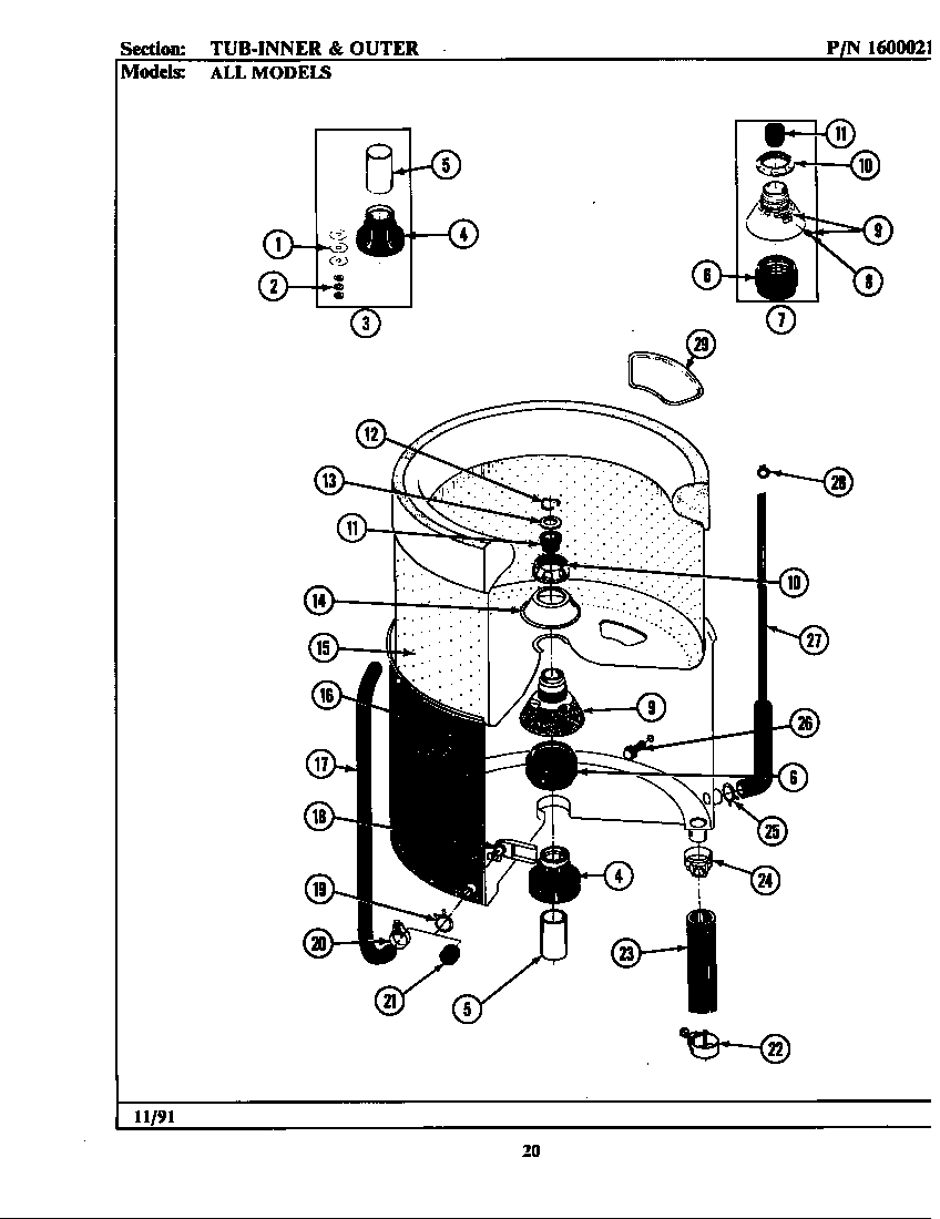 TUB (INNER & OUTER) Diagram & Parts List for Model a104