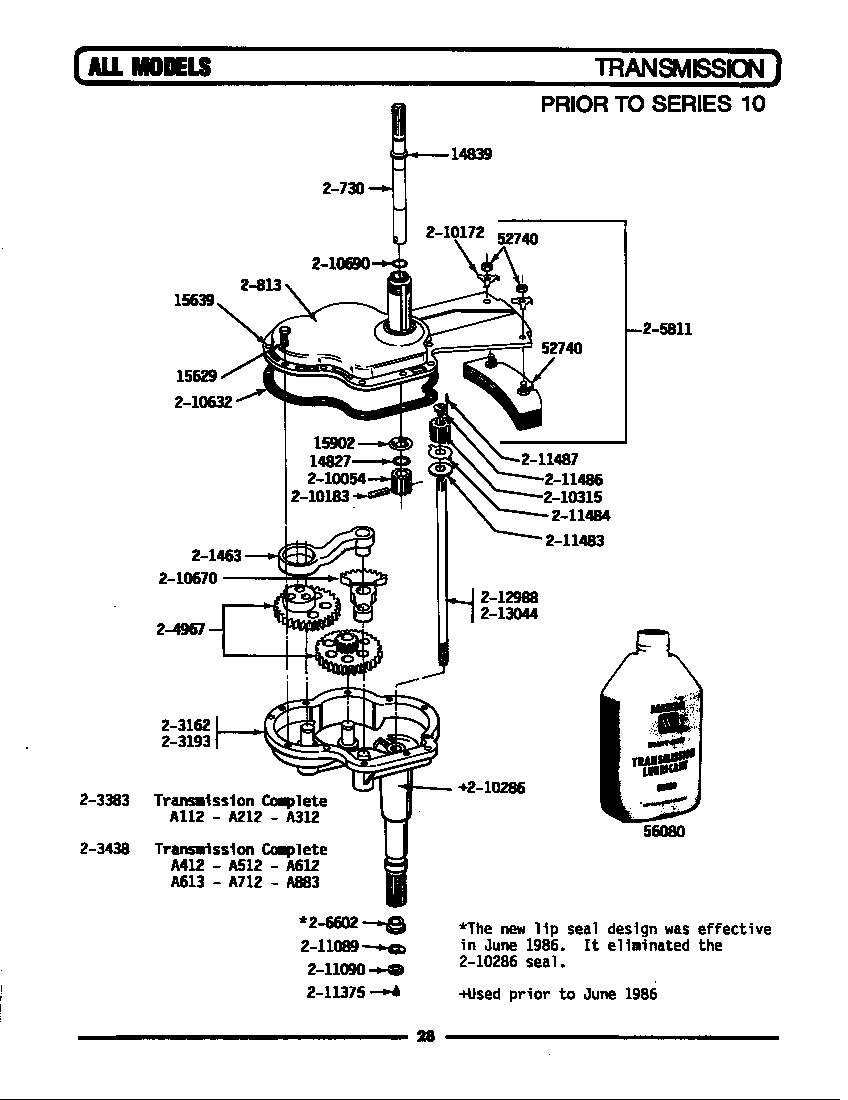 TRANSMISSION Diagram & Parts List for Model la612 Maytag