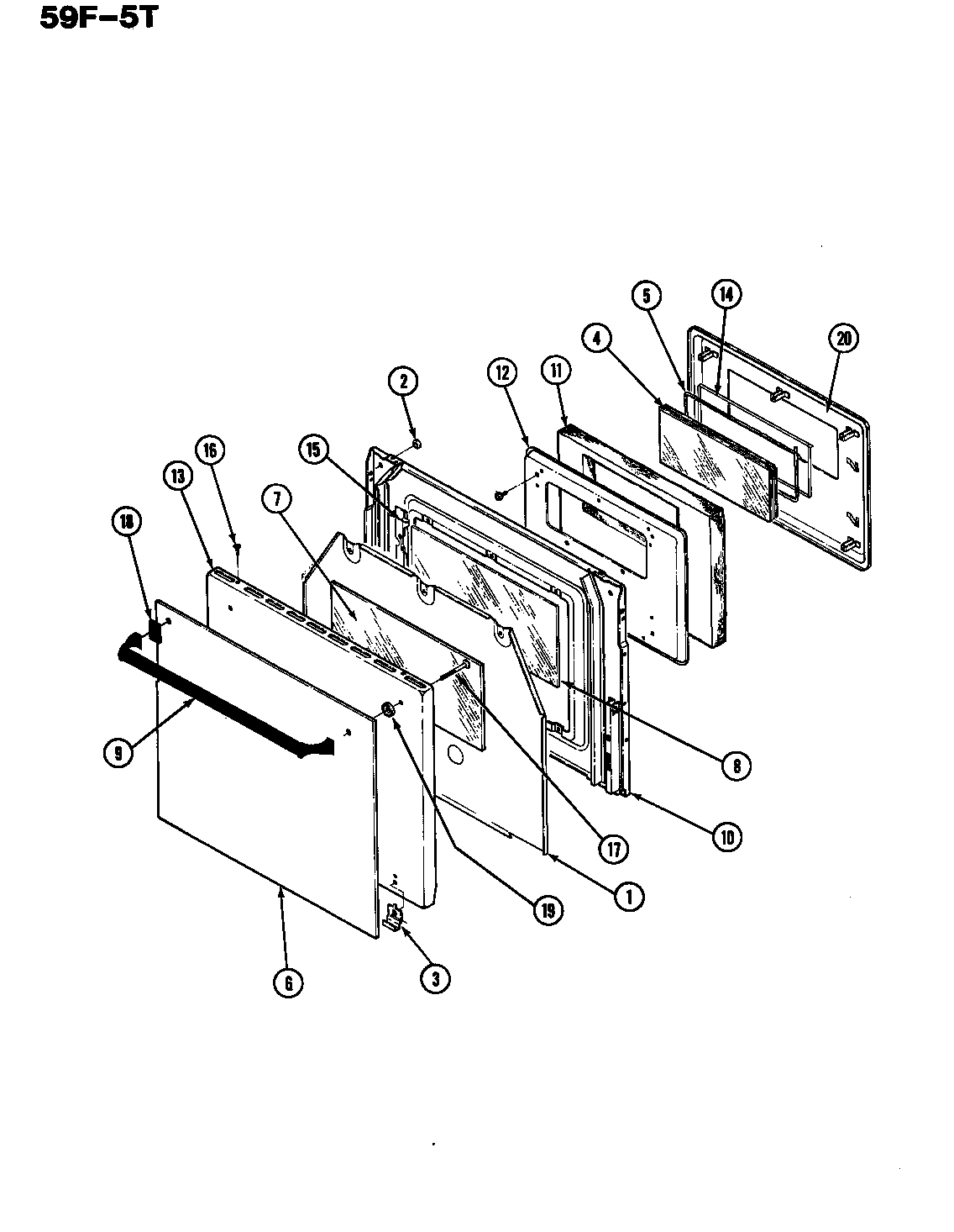 DOOR Diagram & Parts List for Model 59fn5tvw Magic-chef