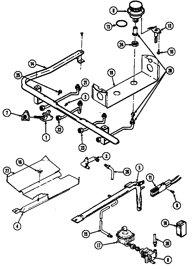GAS CONTROLS Diagram & Parts List for Model 3468xrw Magic
