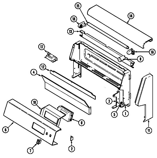 CONTROL PANEL Diagram & Parts List for Model crg9800cae