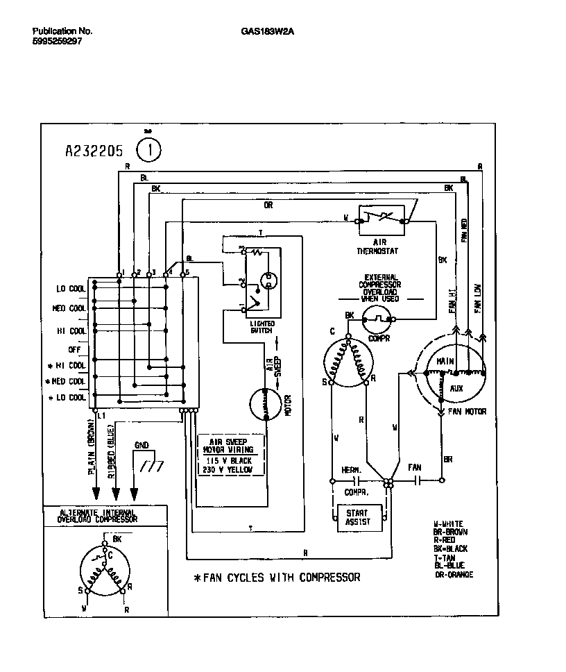 WIRING DIAGRAM Diagram & Parts List for Model GAS183W2A2