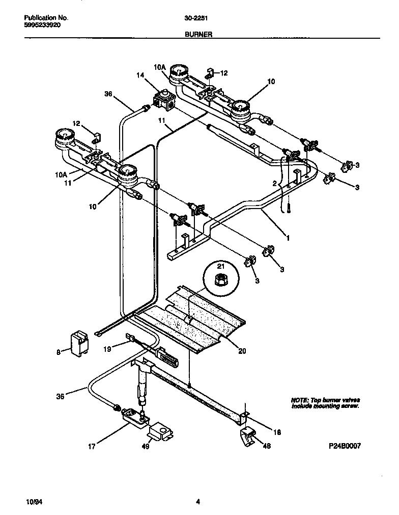 BURNER Diagram & Parts List for Model 3022510007 Tappan