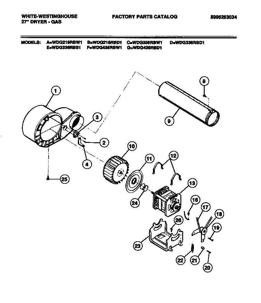 MOTOR Diagram & Parts List for Model wdg336rbw1 White