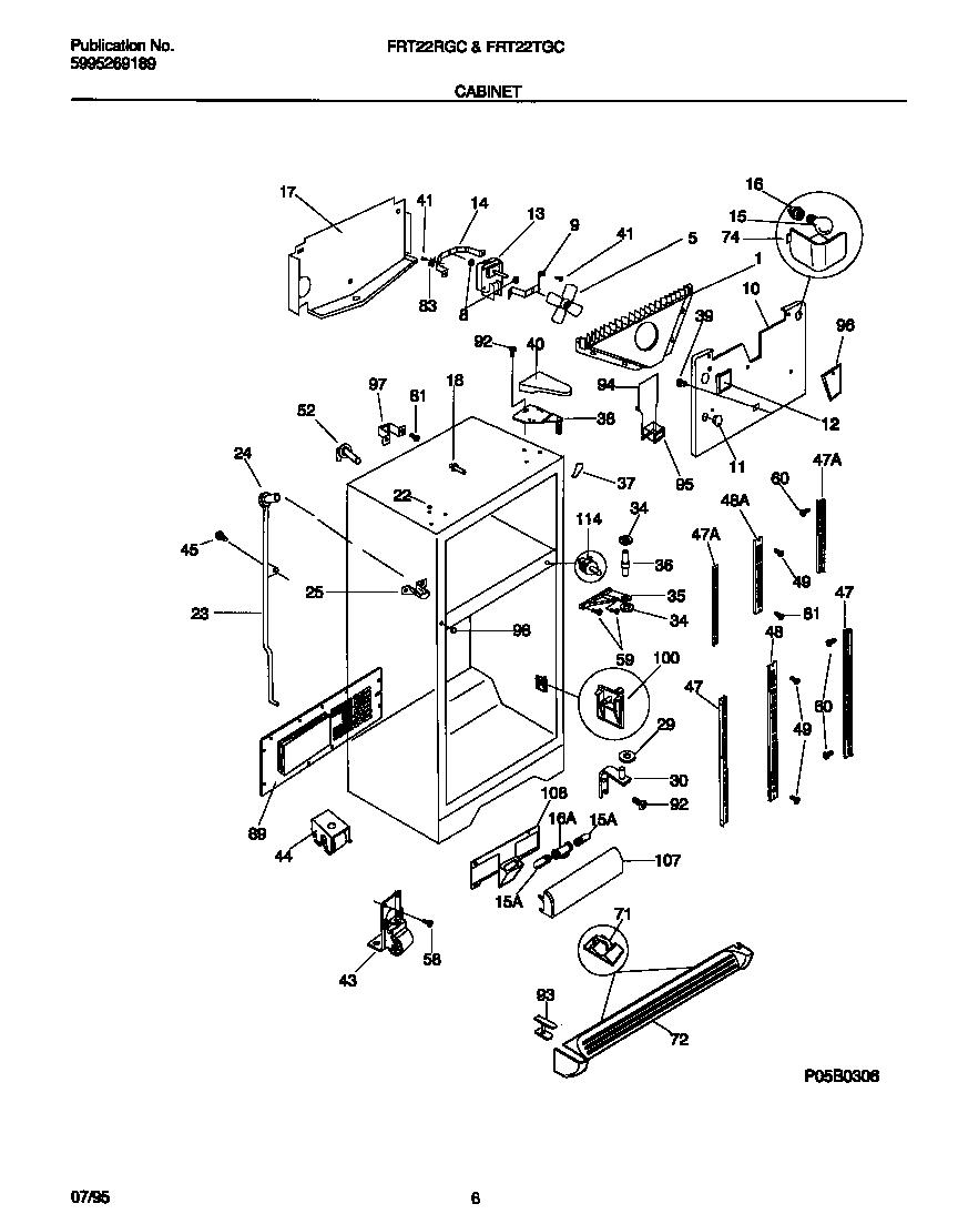 CABINET Diagram & Parts List for Model frt22rgcw1