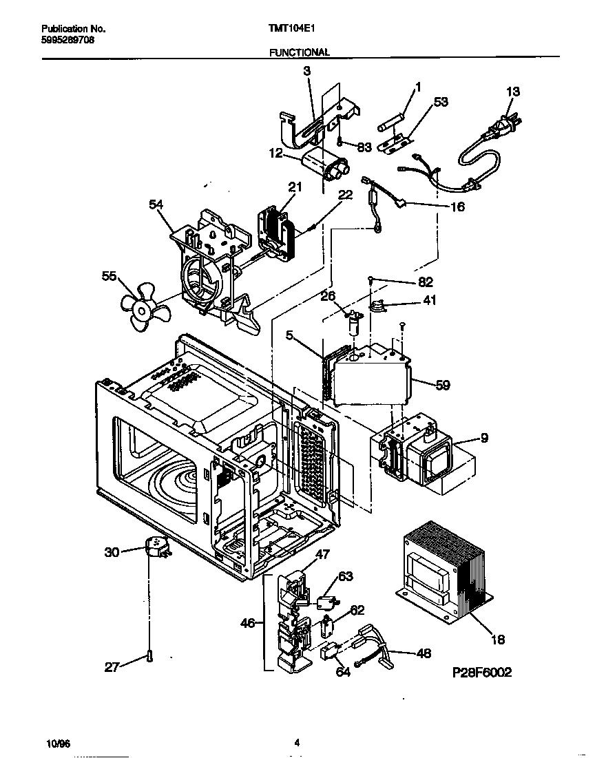 FUNCTIONAL Diagram & Parts List for Model TMT104E1S0