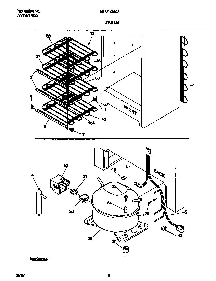 UNIVERSAL/MULTIFLEX (FRIGIDAIRE) Upright Freezer Wiring
