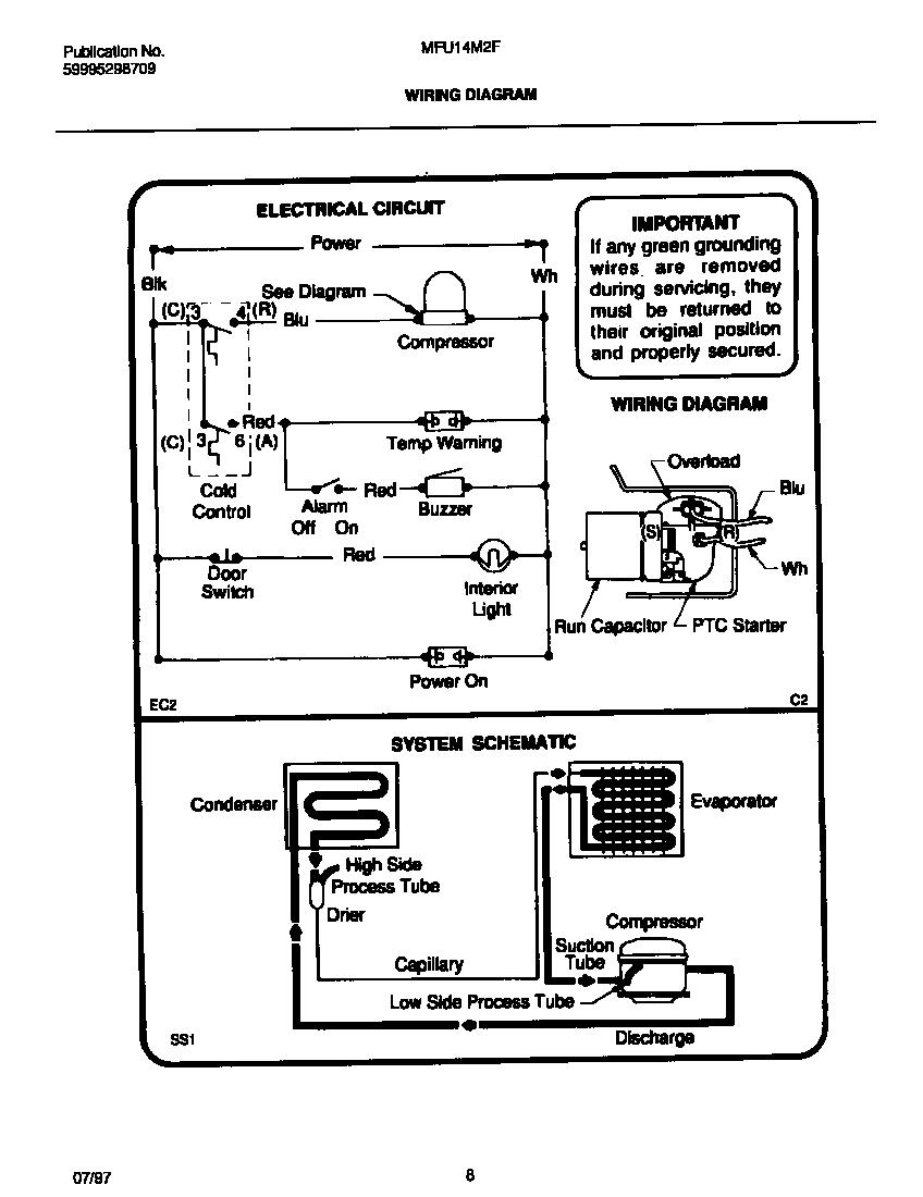 medium resolution of universal multiflex frigidaire model mfu14m2fw1 upright freezer genuine parts