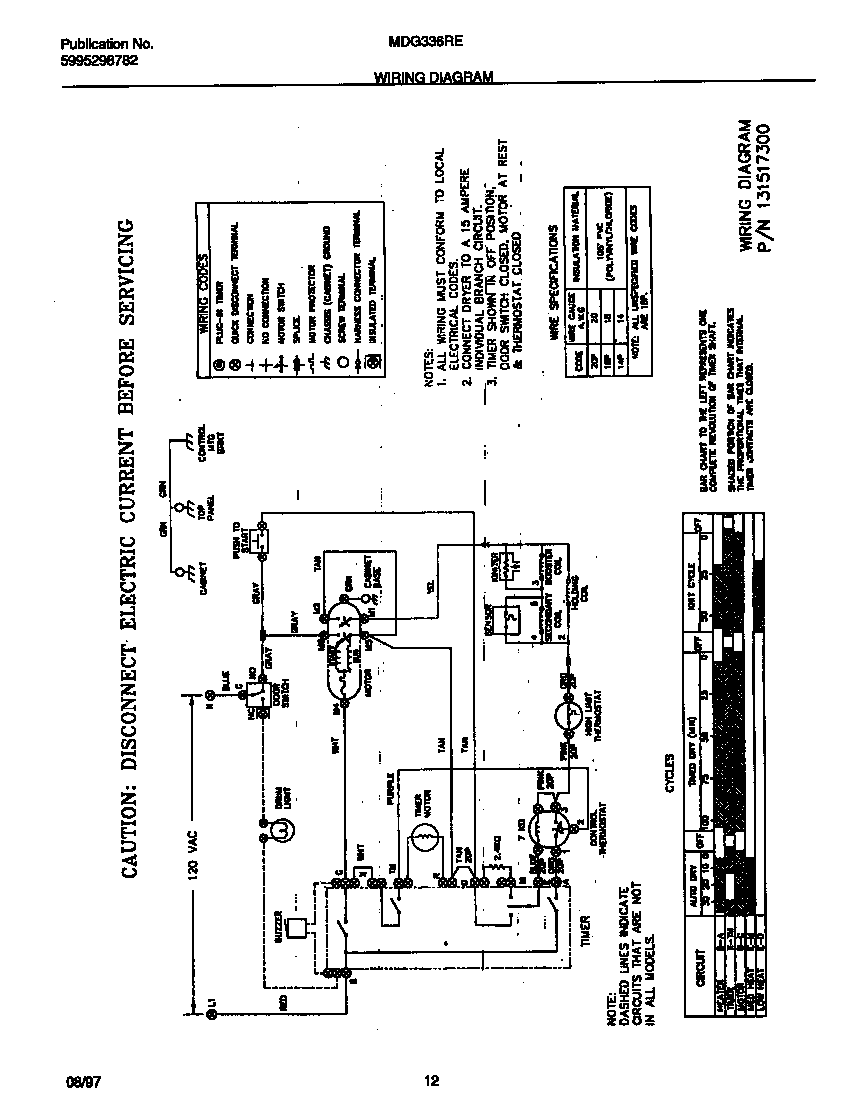 UNIVERSAL/MULTIFLEX (FRIGIDAIRE) Gas Dryer Wiring diagram