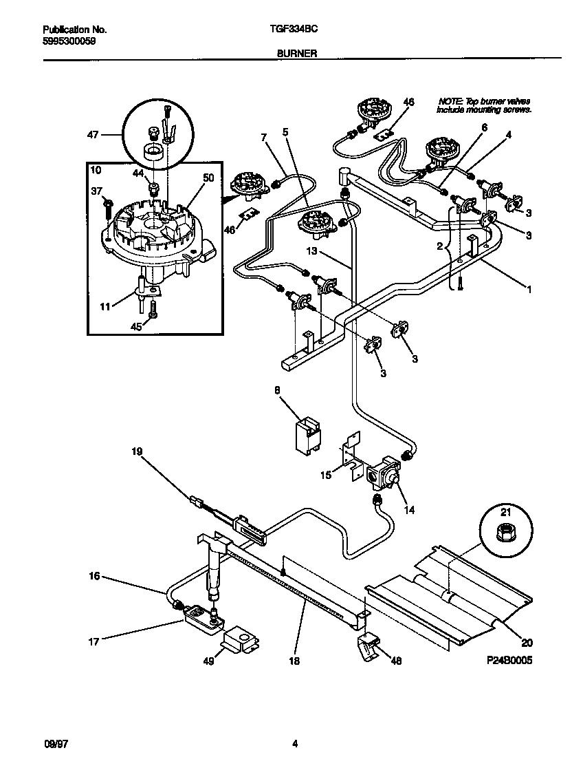 BURNER Diagram & Parts List for Model tgf334bcwh Tappan