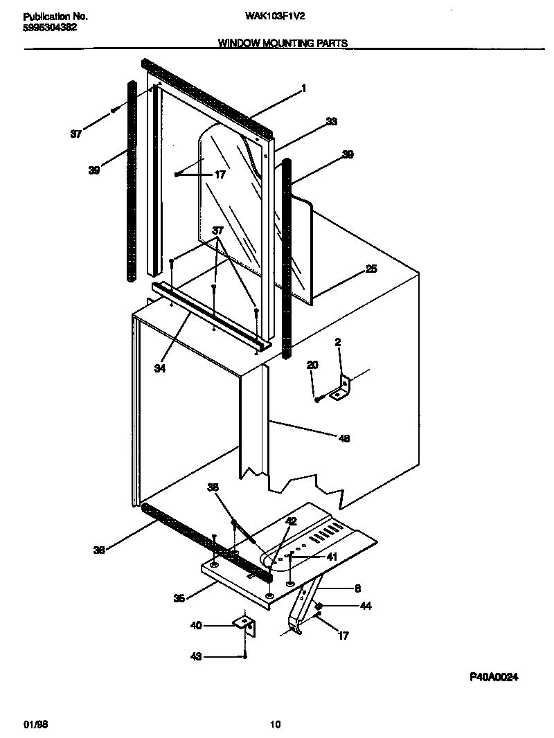 medium resolution of white westinghouse rac w w p5995304382 window mounting parts
