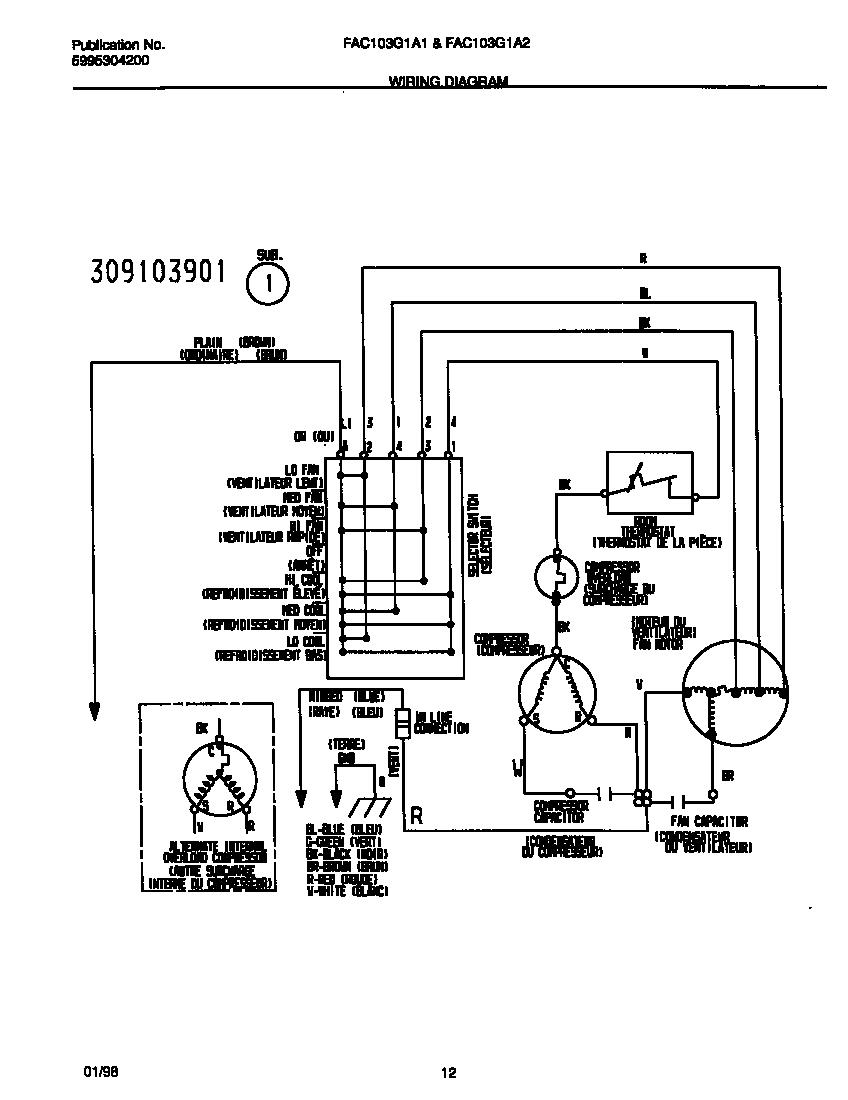 medium resolution of frigidaire room air conditioner wiring diagram parts model