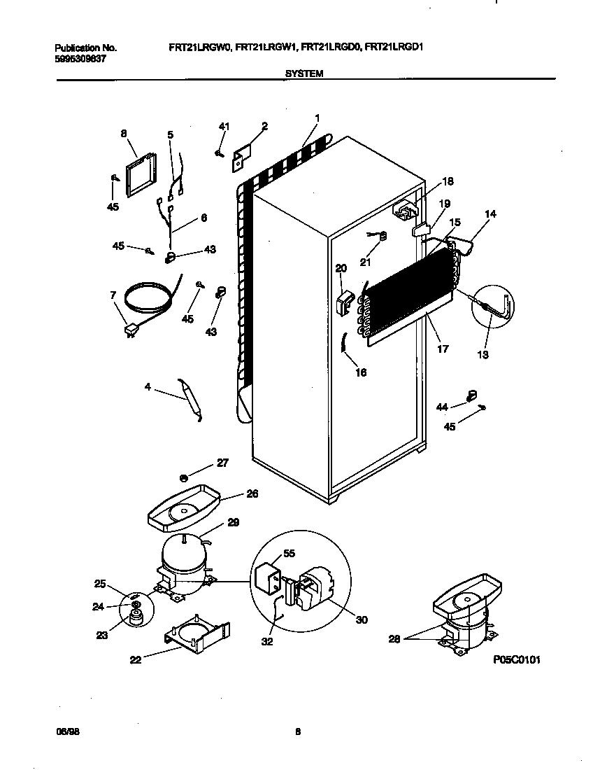 SYSTEM Diagram & Parts List for Model FRT21LRGD0