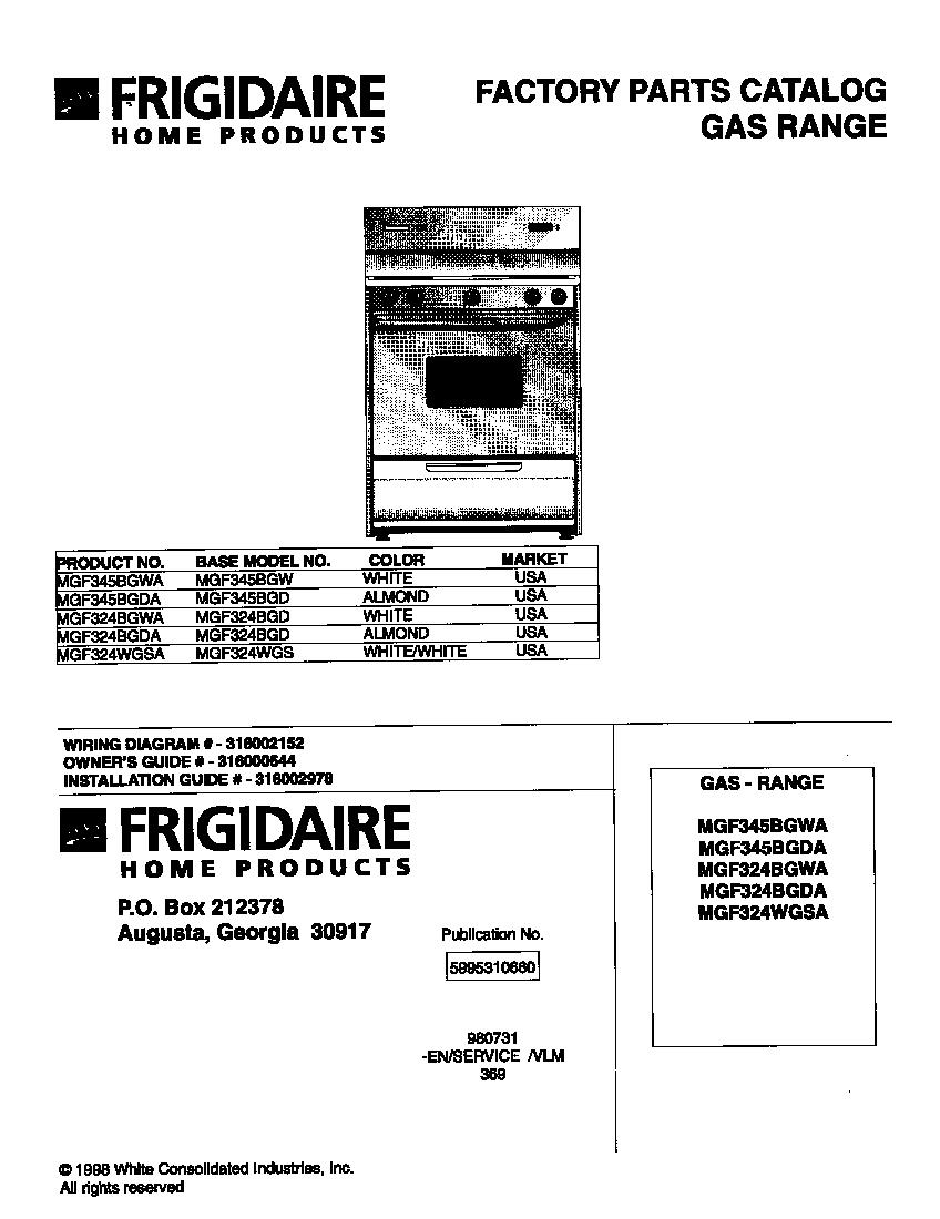 UNIVERSAL/MULTIFLEX (FRIGIDAIRE) UNIVERSAL-GAS RANGE