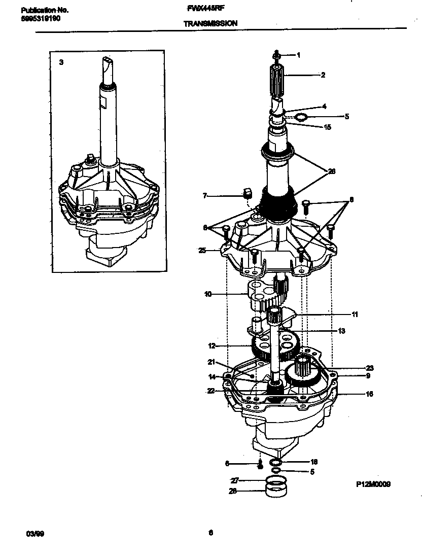 TRANSMISSION Diagram & Parts List for Model FWX445RFS3