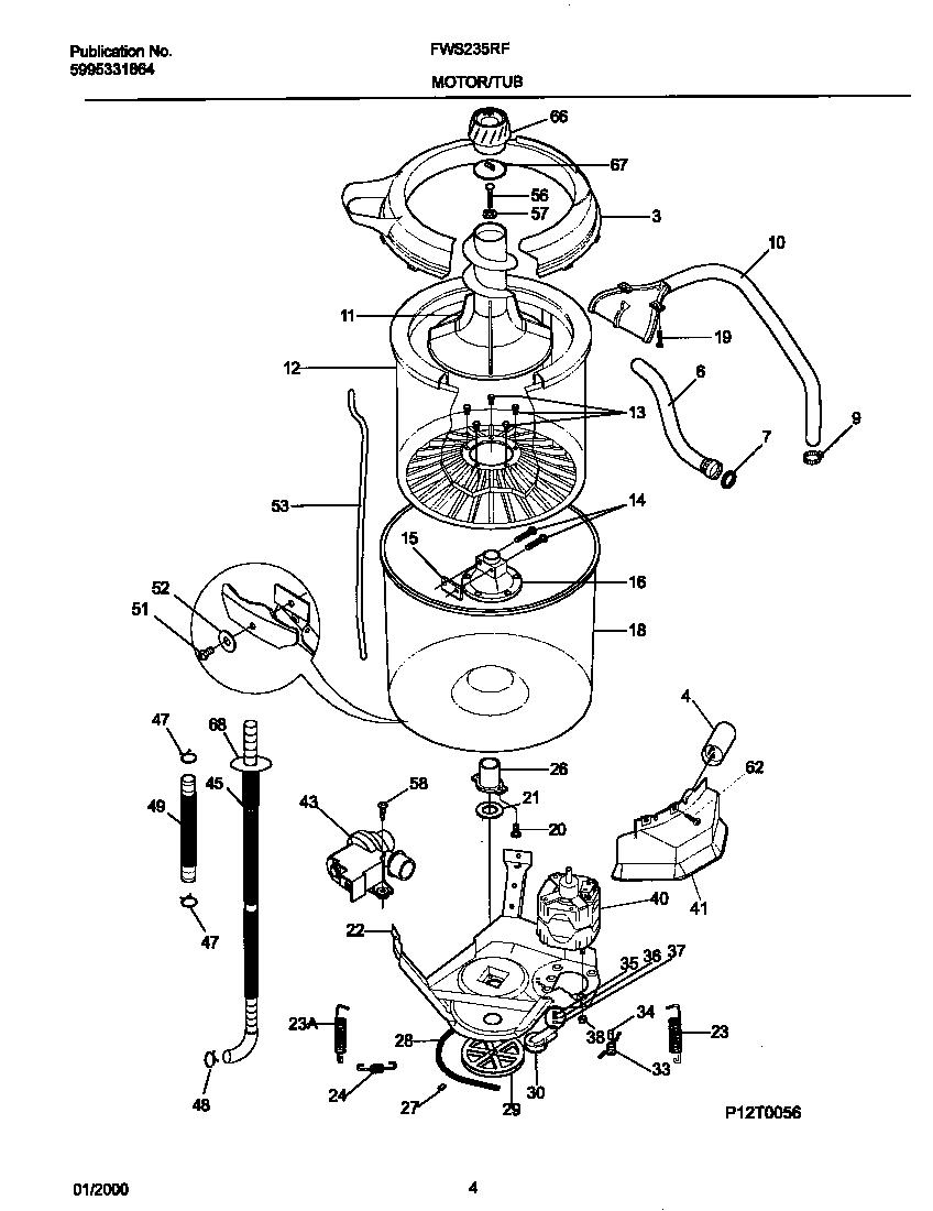 P12T0046 WSHR MTR,HOSE Diagram & Parts List for Model