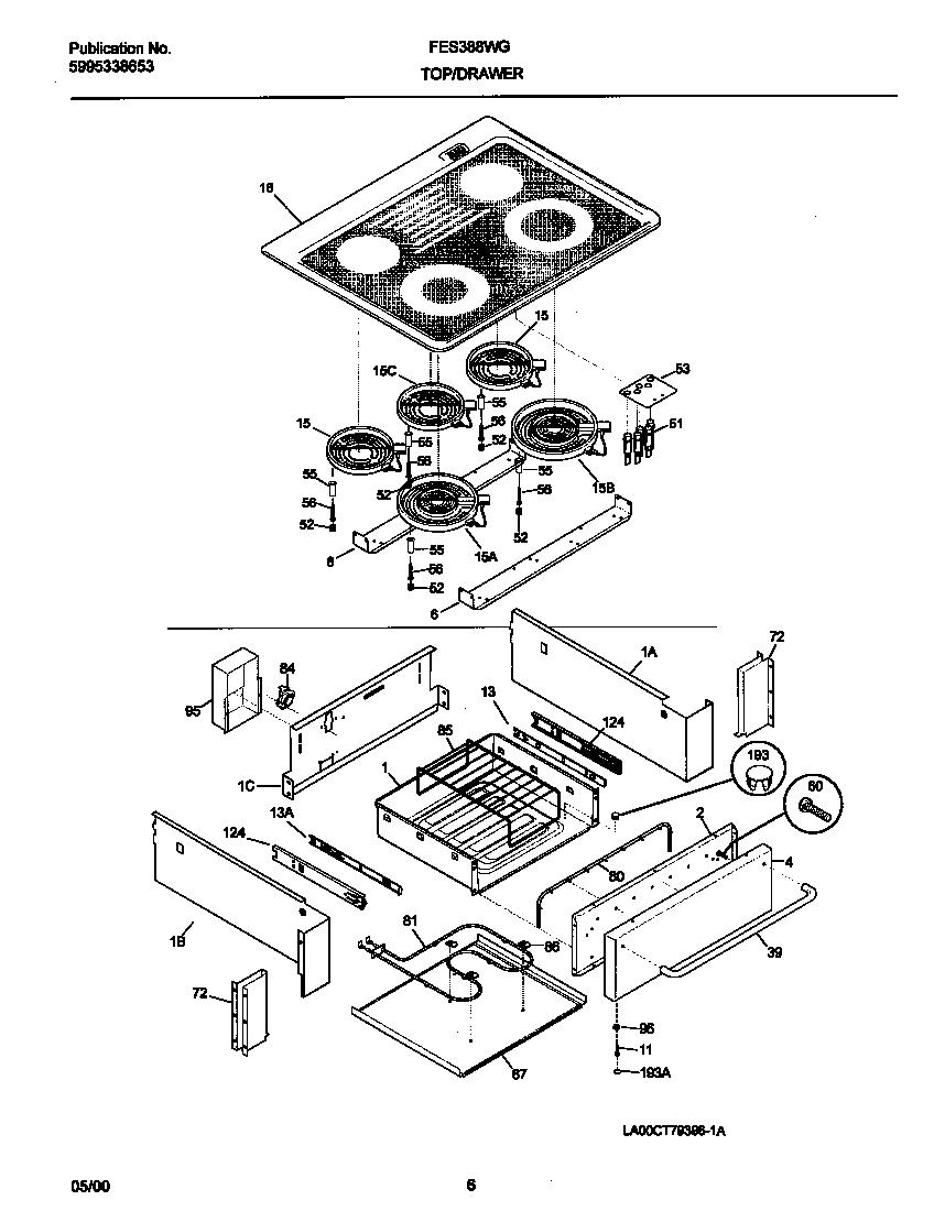 TOP/DRAWER Diagram & Parts List for Model fes388wgcj