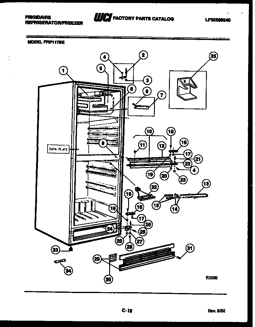 CABINET PARTS Diagram & Parts List for Model fpif117be