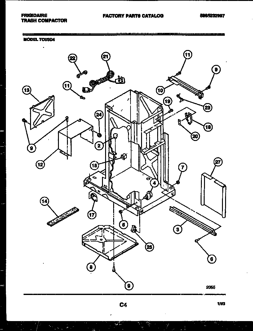 INTERIOR PARTS Diagram & Parts List for Model TCU3D4