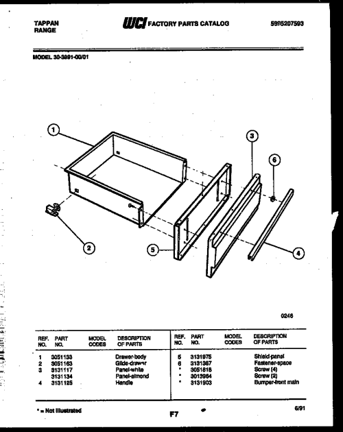 small resolution of tappan 30 3991 23 01 drawer parts diagram