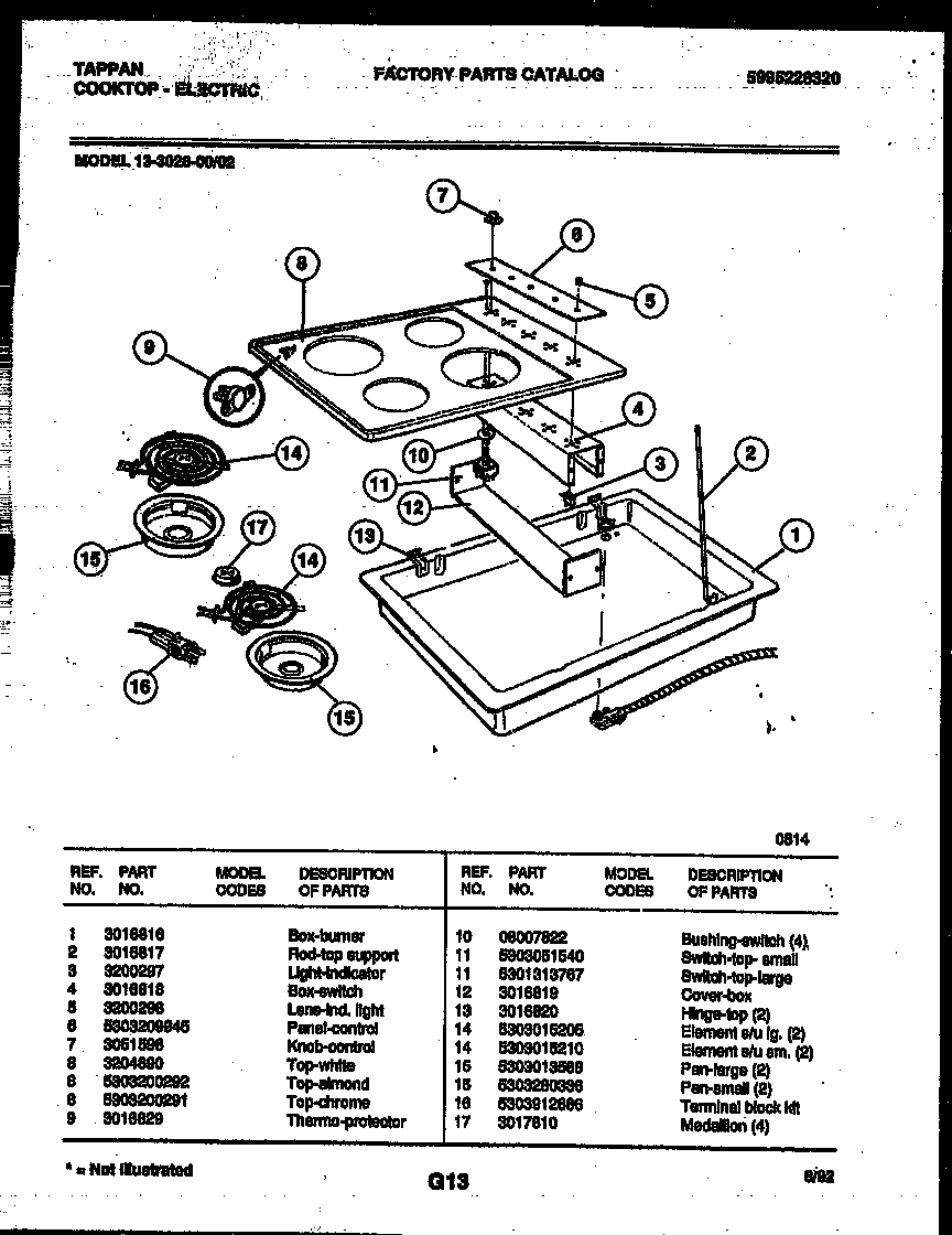 hight resolution of tappan 13 3028 23 02 electric smooth top diagram