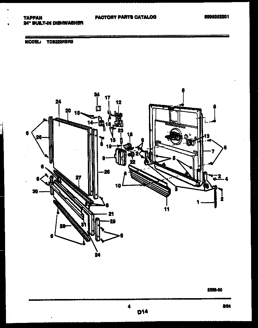 DOOR PARTS Diagram & Parts List for Model TDB222RBR0