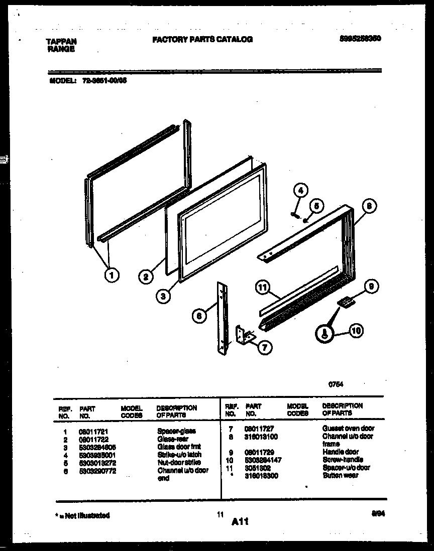 UPPER OVEN DOOR PARTS Diagram & Parts List for Model
