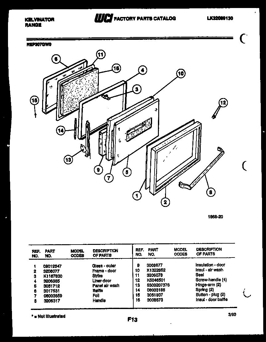 hight resolution of kelvinator rep307gd0 door parts diagram