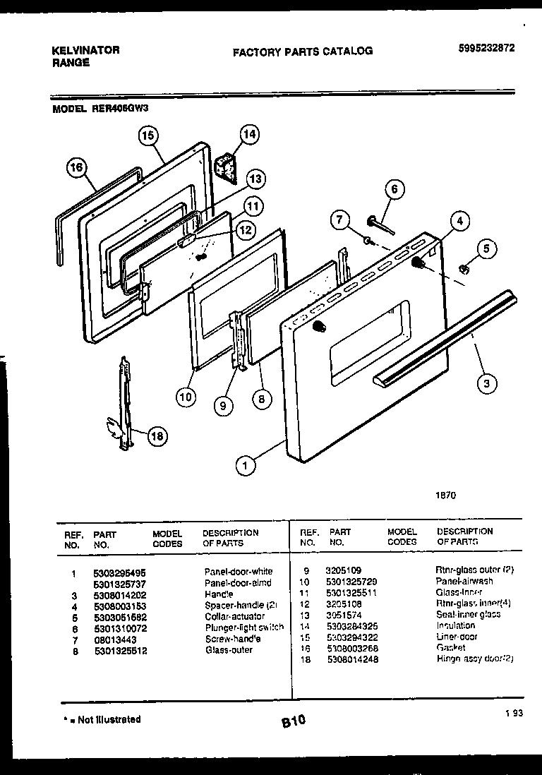 hight resolution of kelvinator rer406gw3 door parts diagram