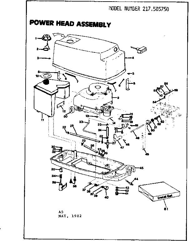 Craftsman model 217585750 boat motor gas genuine parts
