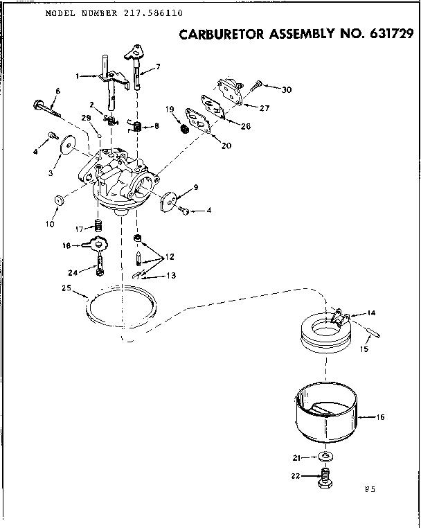 Craftsman model 217586110 boat motor gas genuine parts