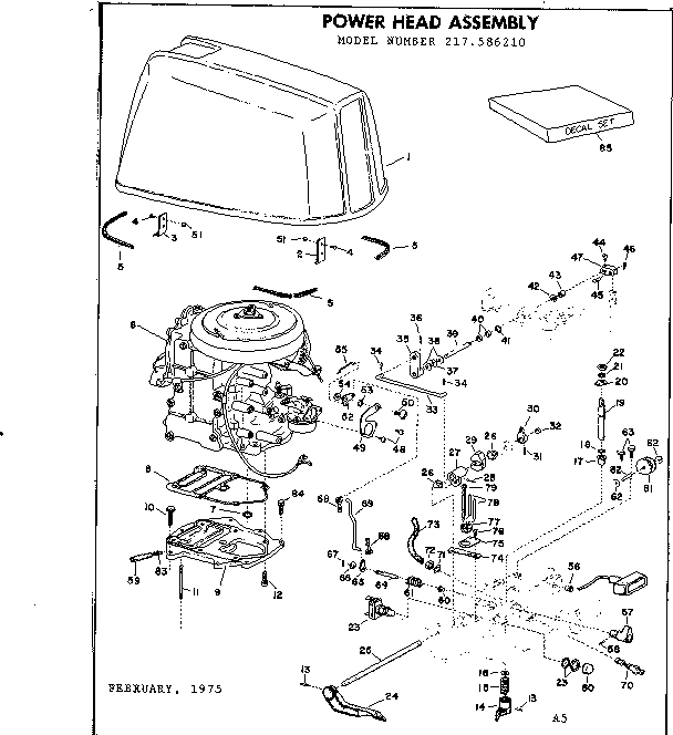 Eska model 1978B boat motor gas genuine parts