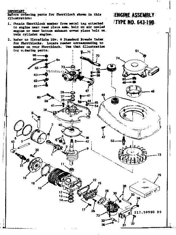 Tecumseh model TYPE 643-19B engine genuine parts