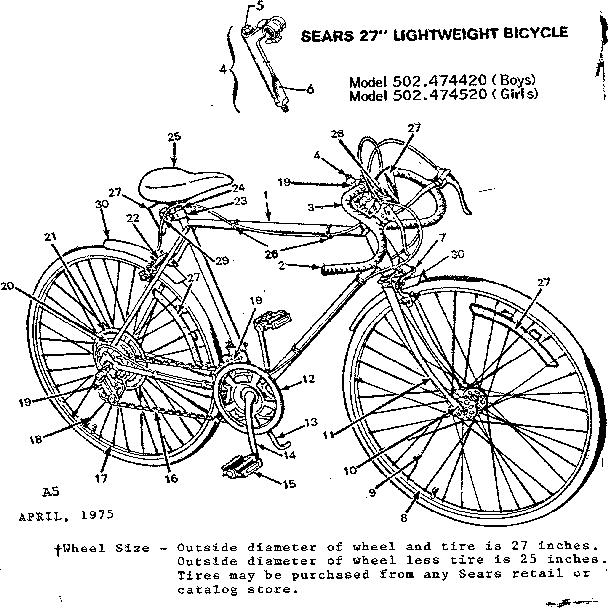 Sears model 502474420 bicycles genuine parts