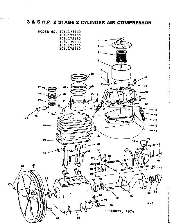 Craftsman model 106175130 air compressor genuine parts