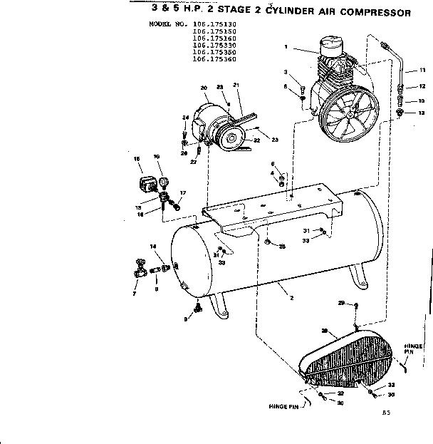 Craftsman model 106175160 air compressor genuine parts