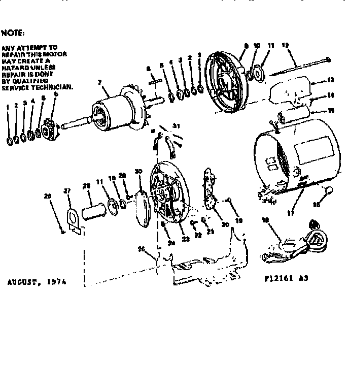 Craftsman model 11312161 motor electric genuine parts