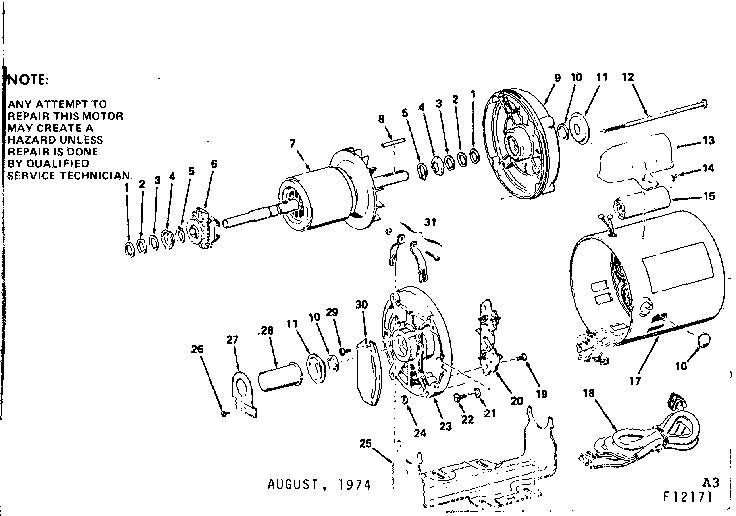 Craftsman model 11312171 motor electric genuine parts