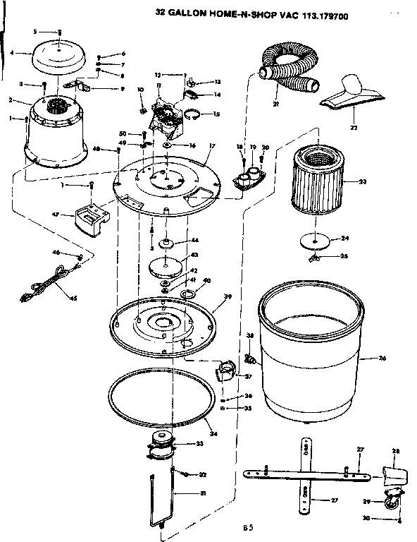 Craftsman model 113179700 wet/dry vacuum genuine parts