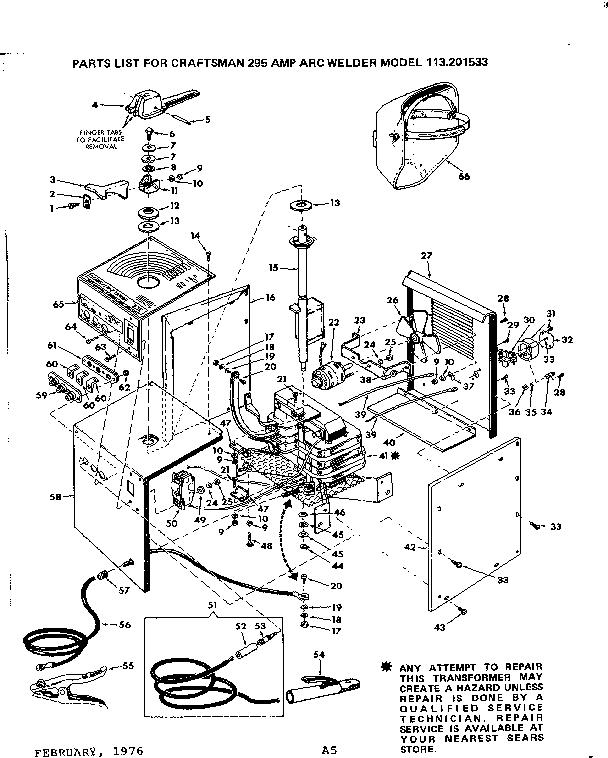 Craftsman model 113201533 welder genuine parts