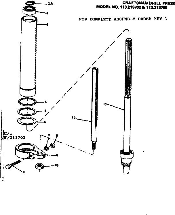 Craftsman model 113213780 drill press genuine parts