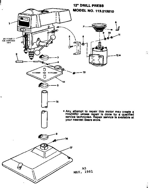 Craftsman model 113213810 drill press genuine parts