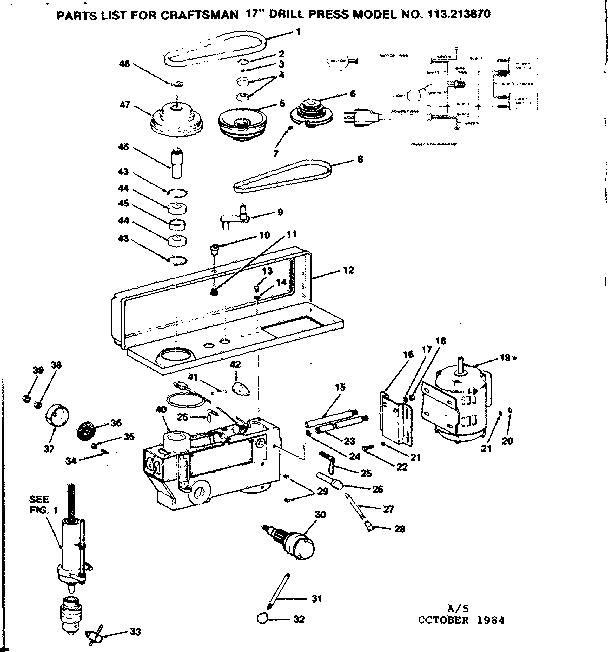 Craftsman model 113213870 drill press genuine parts