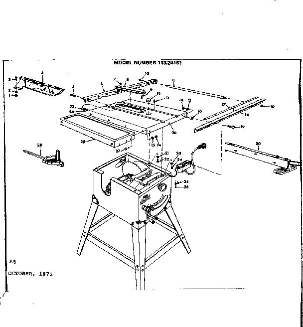 Craftsman model 11324181 table saw genuine parts